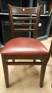 """""""NEW"""" Royal Industries Wood Chairs w Red Leather"""