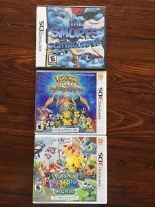 NINTENDO DS & 3DS GAMES - 2 POKEMON 1 SMURFS