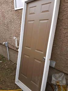 """Pre-hung steel exterior door 2x4 frame - 32"""" x 80"""""""