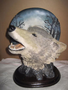 Resin Wolf Head Howling at Moon Backdrop