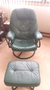 Teal leather chair and ottoman