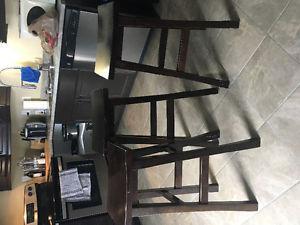 Three beautiful pub style stools and a closet organizer