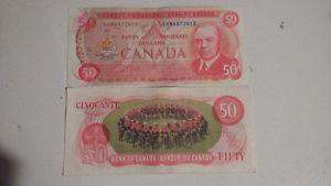 Vintage two $50 dollar bill  Canada Bank or $65 each