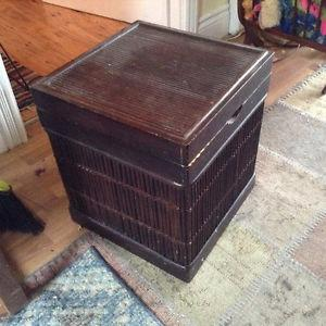 Wicker Emporium wood side table with storage