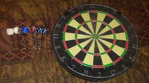 dart board and 2 sets of darts
