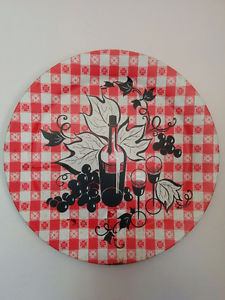 """19"""" dia. metal wall plaque - red & white gingham w/ wine &"""
