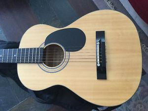 3/4 Denver acoustic guitar like new with case and strap etc