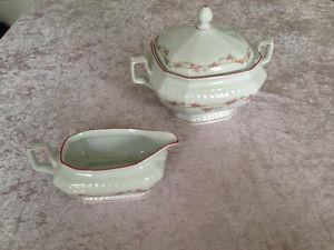 Fine Porcelain Serving Bowl with Sauce Boat