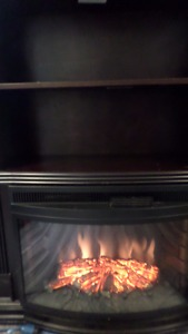 Nice bookshelf & Electric fireplace