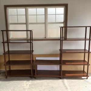 Vintage Solid wood shelves with veneer covering ($150 each)