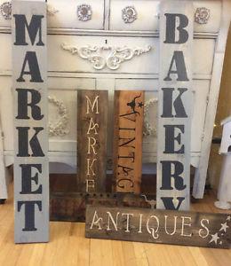 ❤vintage Stenciled Wood Signs
