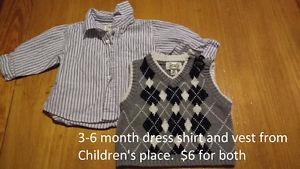 3-6 Month Children's Place dress shirt and vest