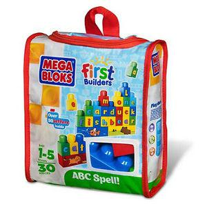 30PC Mega Bloks ABC First Builders Set In Tote Case Brand