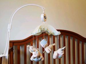 Baby crib and musical mobile