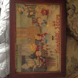 Campbell Kids vintage Ad mounted in wooden frame