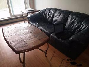 Green leather couch and coffee table + side table! going