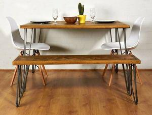 Hairpin leg dining table and bench