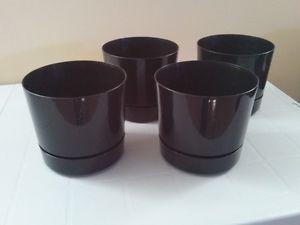 Set of 4 Black Plastic 1.36 Gallon