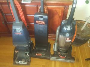 2 commercial vacuums and 1 commercial carpet cleaner