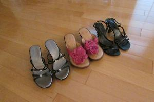 3 pairs of ladies sandals for $80 total
