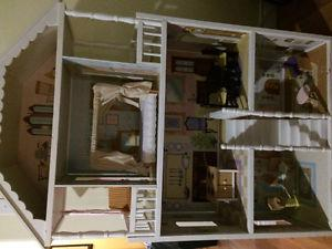 """4' 3"""" High doll house with wood furniture"""