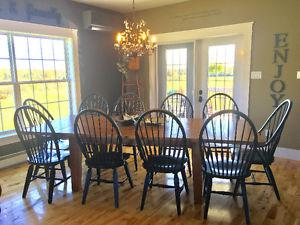 9ft broyhill solid wood harvest table and 10 chairs