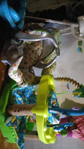Baby stuff car seat,swing, excersaucer and baby tub
