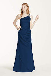 Navy blue full-length bridesmaid or prom dress