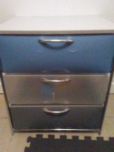 Plastic three drawer storage cabinet