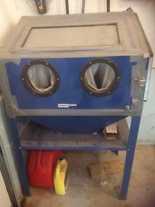 Sandblasting cabinet and pressure pot