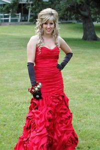 Stunning Jovani Prom Dress - Red with Roses