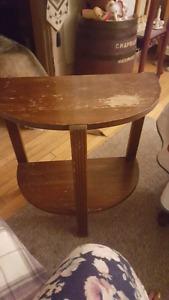 Wooden half moon table