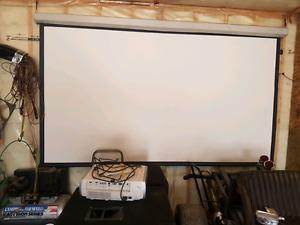 131 inch screen and projector