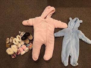 2 baby girl snowsuits and booties and mitts! *new condition*