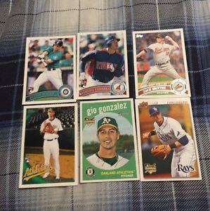 6 Mixed Baseball Cards - Longoria, Gonzalez, Ross...