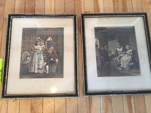 Antique Victorian print wall art picture 38cm x 55 cm frame