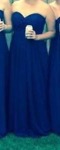 Dark blue long bridesmaid dress