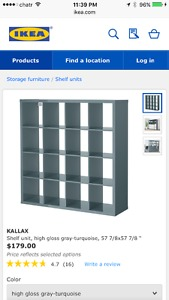 IKEA kallax grey 16 cube shelf with add-on desk