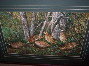 LARGE PRINT BY T.G.KEESE OF A BUNCH OF PARTRIDGES.