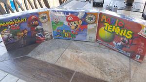 Mario 64,Mario kart 64 and mario tennis