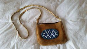 One of a kind Hand crafted beaded/hide small purse