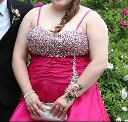 Size 18 fuchsia prom dress for sale