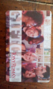 $50 Tony Romas vauled gift card