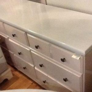 Blush & silver long wood dresser