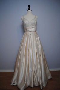 Champagne Satin Colored Gown with Beaded Top - PRICE REDUCED