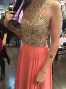 Coral Pink Alyce Paris Prom Dress Size 2