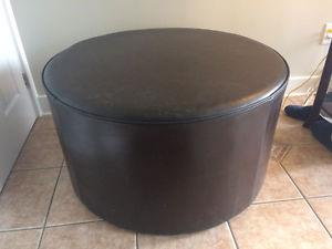 Espresso Rawhide Leather Coffee Table