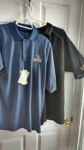 Two golf shirts Moosehead light brand new one is large one