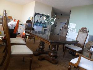 antique oad dining table set