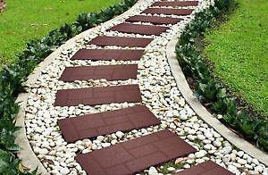 """90-RUBBER COBBLESTONE STAIR TREADS- 10""""X24""""AND 18""""X18"""" LONG."""